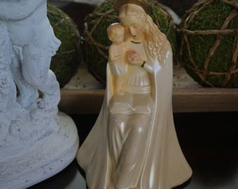 Vintage, Chalkware Mary with Baby Jesus