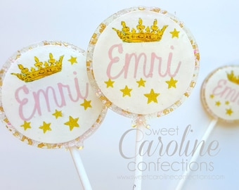 Princess Lollipops, Pink and Gold Favors, Candy, Party Favors, Sparkle Lollipops, Pink Lollipops, Little Girl Party, SIX LOLLIPOPS