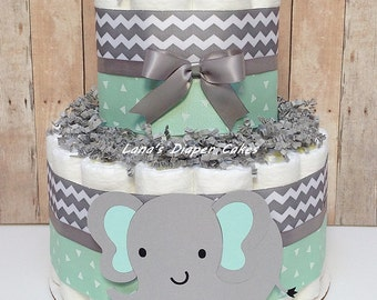 2 Tier Mint & Grey Elephant Diaper Cake, Gender Neutral Baby Shower Centerpiece, Mint, Grey Chevron