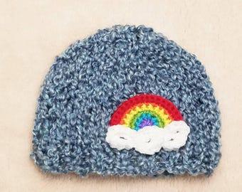 Rainbow Baby Hat | Rainbow Baby Photo Prop / Rainbow Newborn Hat / Rainbow Baby Pregnancy Announcement / Rainbow Baby Shower Gift