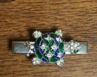 Sweet little blue and green turtle  alligator clip with gems.