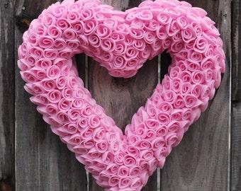 Valentine's Day Pink Felt Heart Wreath, Valentine's Day Decor