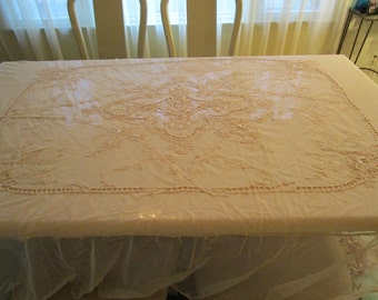 20% SALE-Price Reduced - Antique Victorian French Tambour Net Lace Applique Bedcover