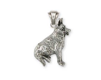 German Shepherd Pendant Jewelry Sterling Silver Handmade Dog Pendant GS8-P