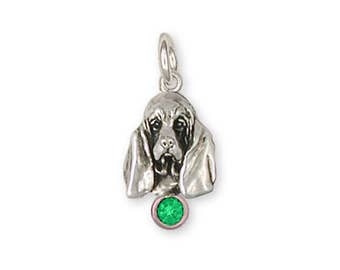Basset Hound Charm Jewelry Sterling Silver Handmade Dog Charm BAS6-SC
