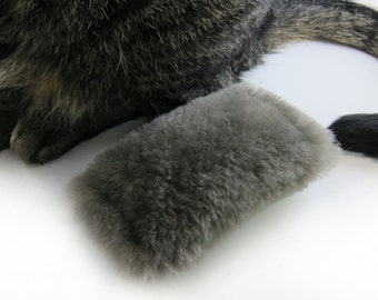 Cat Toy Kicker | Kitty Kick Stick | Small Cat Toy | Optional Organic Catnip or Silvervine Mix | Grey Sheepskin Cat Kicker Toy