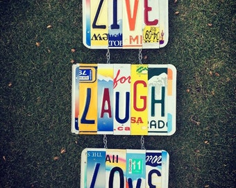 LIVE LAUGH LOVE. License Plate Sign. -live laugh love -lovesign -for her -license plate art -girls room decor