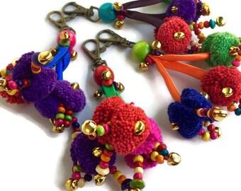 Pom Pom Zipper Pull / Key Chain Thailand Fair Trade