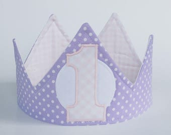 Lavender and princess pink first birthday crown, girl first birthday