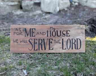 Barn Wood Wall Art - Joshua 24:15 Bible Verse - As For Me and My House We Will Serve The Lord - Family Room -  Reclaimed Barn Wood Sign