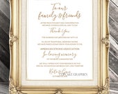 Wedding Favor Donation Card - In Lieu of Favors - Digital File - Gold