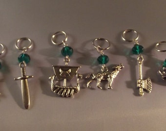 Vikings inspired knitting stitch Markers ( 6) Markers with Green beads