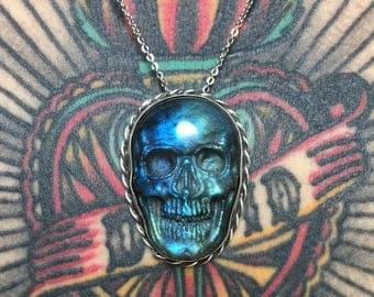 Sterling Silver Labradorite Skull pendant necklace