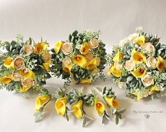 Green Yellow wedding set Wedding bouquet Succulent Bridal bouquet with succulents and callas Clay Wedding bouquet Yellow Calla lilly bouquet