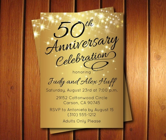 50th Anniversary Invitation Golden Invite Party Printable