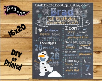 First Birthday Chalkboard 1st birthday snowman boy or girl chalk board photo prop customized first birthday poster digital file or printed