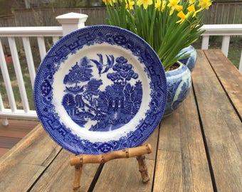 Chinoiserie Plate Blue Transferware Staffordshire Plate