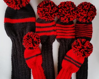 6 GOLF CLUB HEAD-Covers, Holiday Special, Retro Hand Knit Custom Colors, pom poms for Driver putter, iron, hybrid, woods, fairway golf clubs