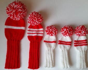 Customized Set of 5 GOLF CLUB HEAD-Covers, Holiday Special, Retro Hand Knit Custom Colors, pom poms for Driver, woods, and hybrids
