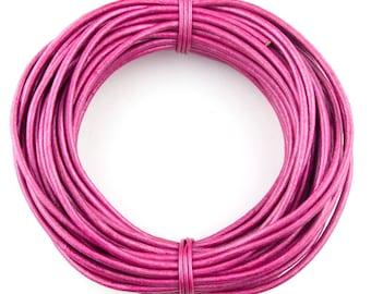 Pink Metallic Round Leather Cord 2mm - 10 Feet