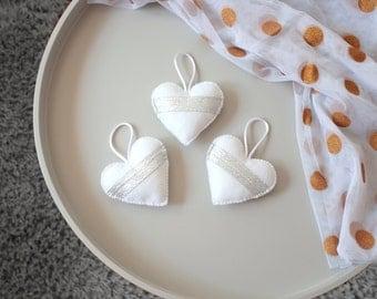 Heart Ornaments Felt Hearts, White & Silver, Wedding Decorations, Home Decor, Hanging Plush Hearts, Silver Ribbon, Set of 3