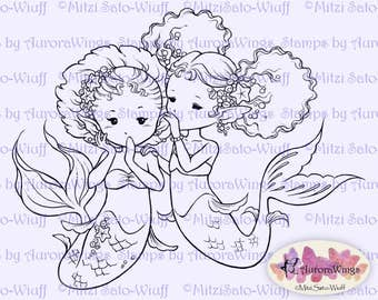 Digital Stamp - Instant Download - The Secret - Best Friends Mermaids - Fantasy Line Art for Cards & Crafts by Mitzi Sato-Wiuff