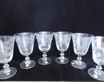 Set of 6 Vintage Crystal Glasses