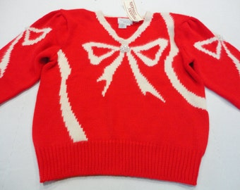 Vintage  Maurada Casuals Red and White Sweater