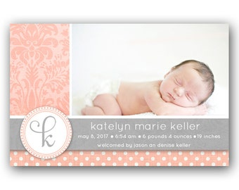 Printable Birth Announcement -  Baby Girl Announcement - Personalized - Vintage Damask Pink