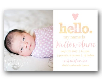 Baby Girl Birth Announcement - Printable Photo Baby Announcement - Custom - Pink Watercolor
