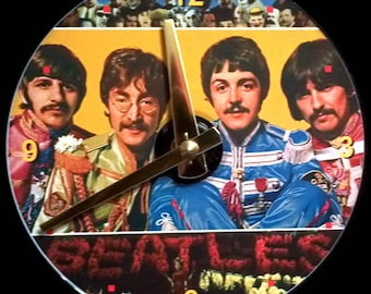 New BEATLES Wall CLOCK - CD Size! 4.75 inch diameter. Sgt. Pepper's Lonely Hearts Club Band. John Lennon, Paul McCartney, George Harrison