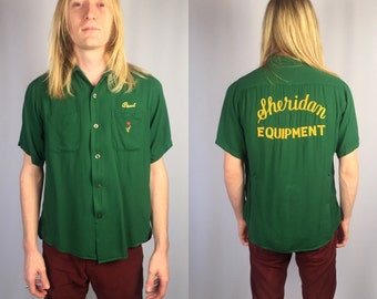 Vintage Rockabilly Bowling Garbadine Shirt King Louie Size Medium