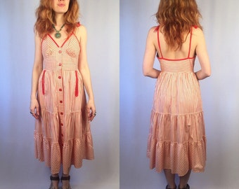 Vintage 1970's Young Edwardian Candy Striped Dress Small
