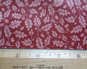 Acorn & Leaf Print on Reddish Brown Cotton Fabric 2-7/8 Yards