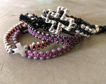 Macrame bracelets,girlfriend,hip,boho,cross,crystal bracelet,sliding knot