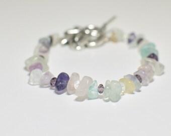 Fluorite Jewelry, Gemstone Bracelet, Fluorite Bracelet, Fluorite Stone Bracelet, Christmas Gift, Gift for Her, Stocking Stuffer