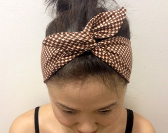 Brown White Hound Toots Prints Dolly Bow Headband / Inner Wired Headwrap  /Hair Scarf