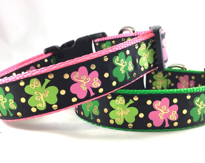 Featured listing image: St. Patrick's Day Clover Dog Collar