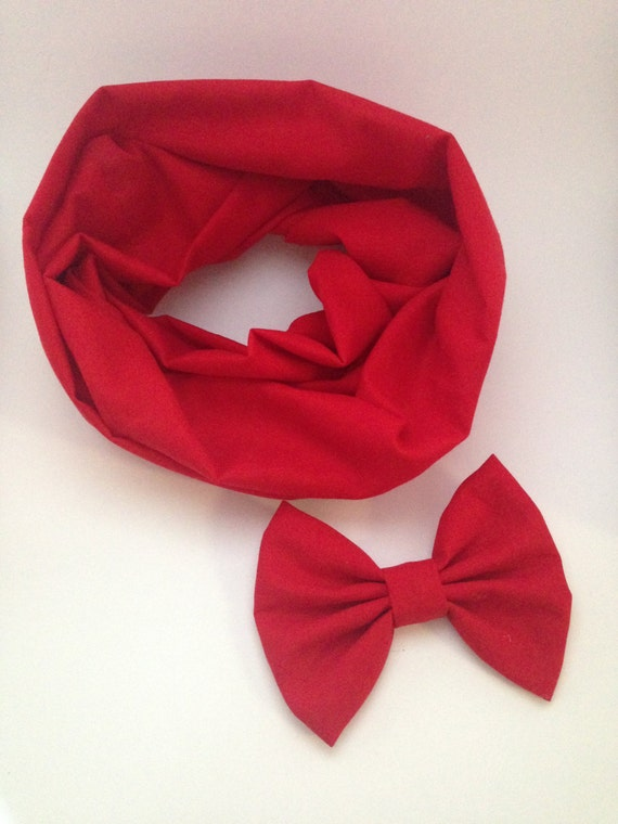 Red infinity scarf and fabric hair bow set