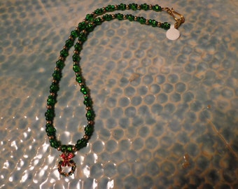 Christmas wreath necklace