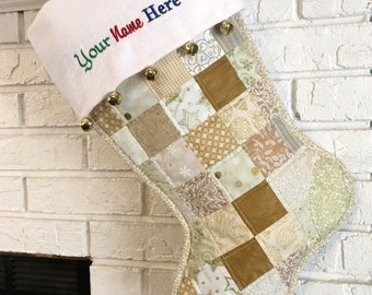 Quilted Christmas Stocking, Gold and Beige Cottton Patchwork, Free Personalization, Large Size, Fully Lined, Flannel Cuff with Jingle Bells