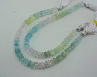 8-inch Natural Multi Aquamarine faceted beads size 7.5-8mm 87cts GW2796