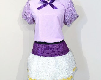 Daisy Duck Inspired Running Costume- Athletic Shirt and Running Skirt with Sparkle and White Faux Fur