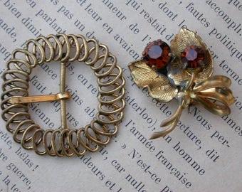 2pcs French vintage  gold tone metal brooch belt buckle  crystal brooch flower brooch