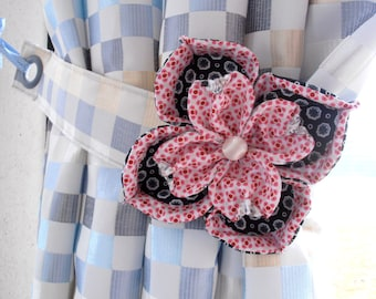 GREAT flower CURTAINS black/rose