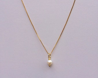 Simple White Pearl Pendant on  Sterling Silver Necklace