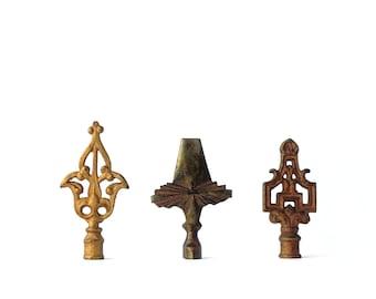Vintage Lamp Finials Lot of Three Brass Iron Art Deco Lighting Parts Shade Bohemian Decor