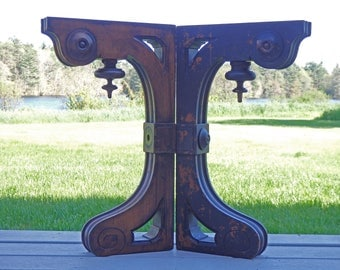 """Antique Corbels Wooden Set of Two Large Home Decor Wood Brackets Table Bracket Ornate Corbel 22"""" Tall 2 1/2"""" Thick Brown Sturdy"""