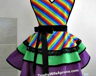 Apron # 4068 - Beautiful rainbow apron that you can wear with pride