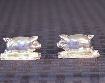 Silver Pig Place Card Holders  - Figural Pig Holders - New York Pork Producers Collectibles - Portugal Silver - Silver Pig Sculpture